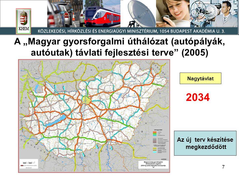 """7 Nagytávlat A """"Magyar gyorsforgalmi úthálózat (autópályák, autóutak) távlati fejlesztési terve (2005) 2034 Az új terv készítése megkezdődött"""