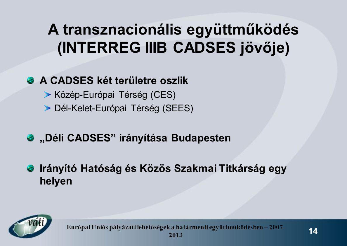 Európai Uniós pályázati lehetőségek a határmenti együttműködésben – 2007- 2013 14 A transznacionális együttműködés (INTERREG IIIB CADSES jövője) A CAD