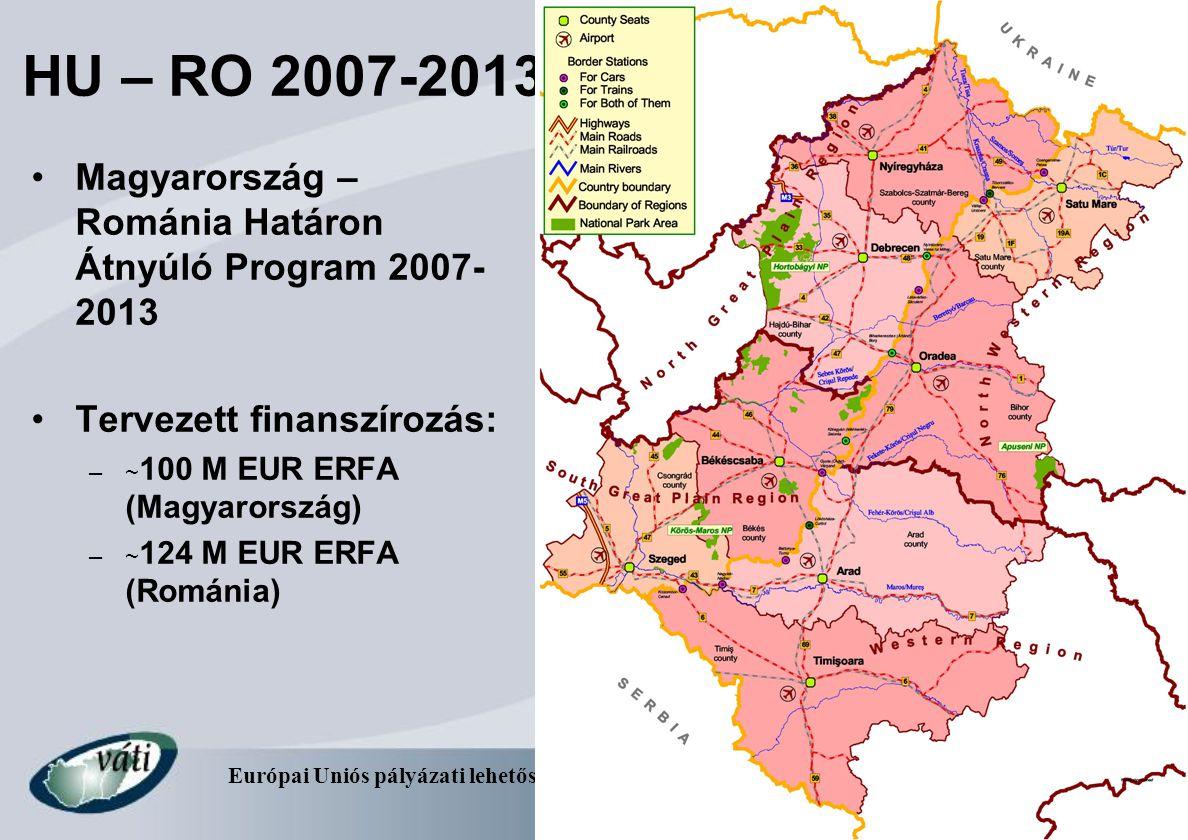Európai Uniós pályázati lehetőségek a határmenti együttműködésben – 2007- 2013 7 HU – RO 2007-2013 Magyarország – Románia Határon Átnyúló Program 2007