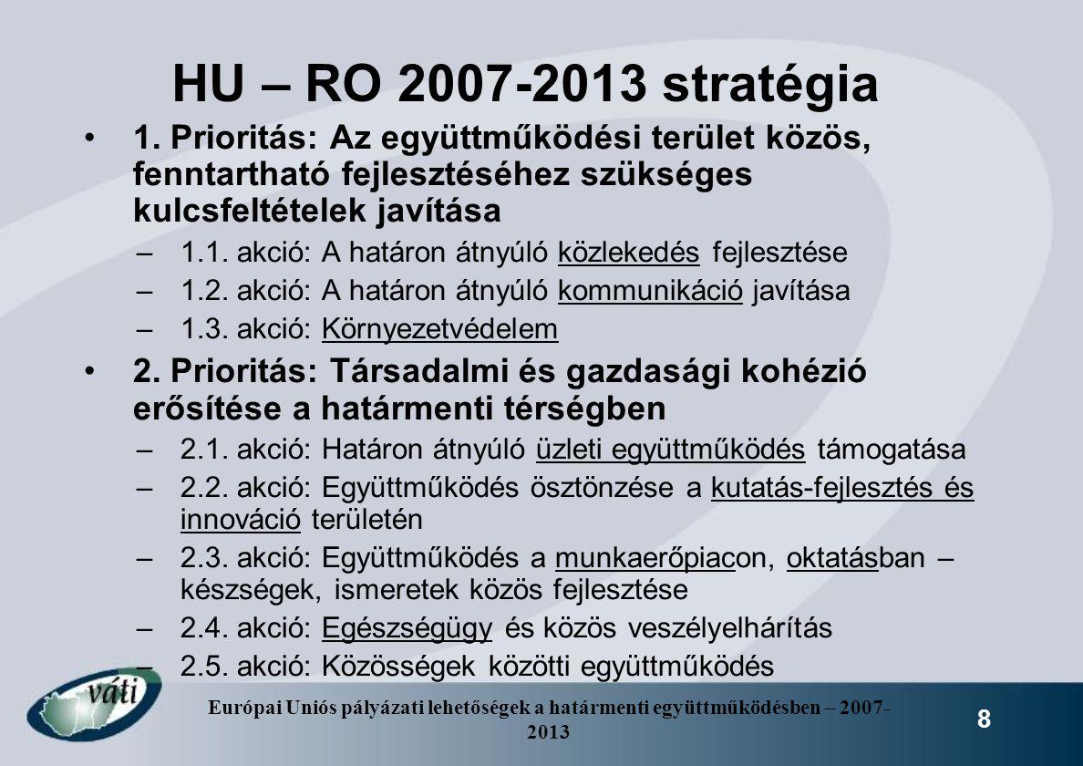 Európai Uniós pályázati lehetőségek a határmenti együttműködésben – 2007- 2013 8 HU – RO 2007-2013 stratégia 1. Prioritás: Az együttműködési terület k