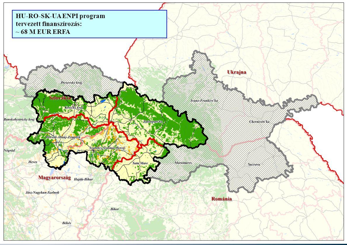 Európai Uniós pályázati lehetőségek a határmenti együttműködésben – 2007- 2013 9 HU-RO-SK-UA ENPI program tervezett finanszírozás: ~ 68 M EUR ERFA