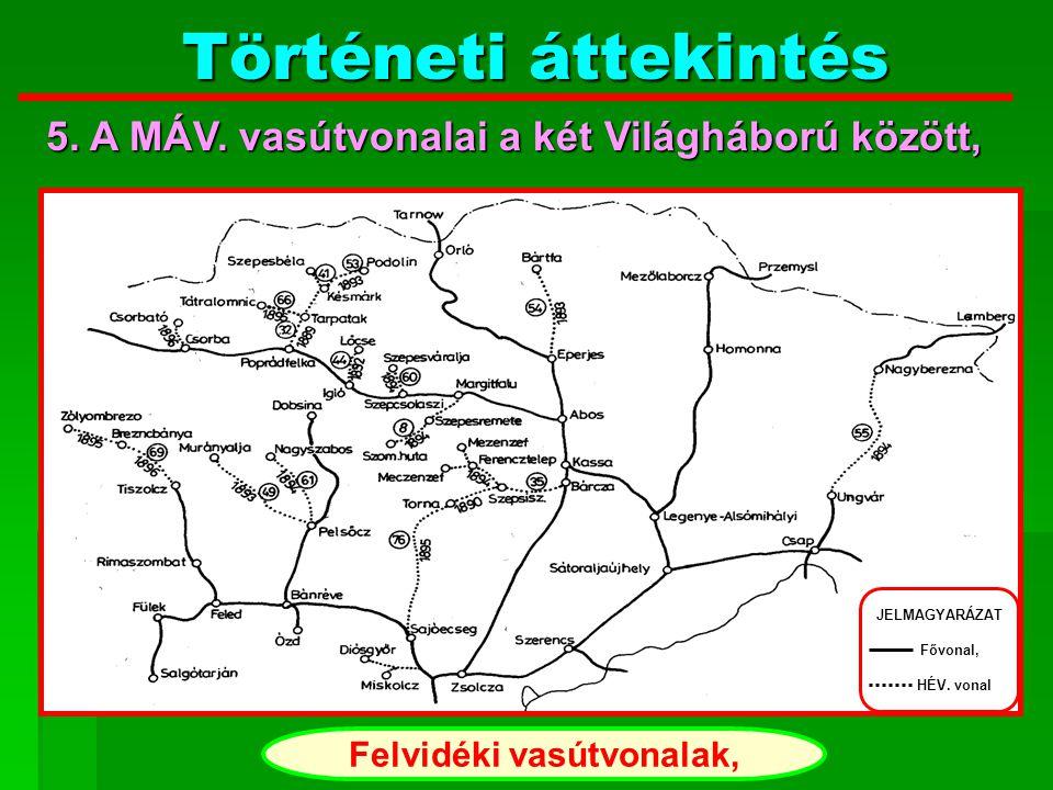 Történeti áttekintés Kelet - Magyarországi vasútvonalak, JELMAGYARÁZAT Fővonal, HÉV. vonal