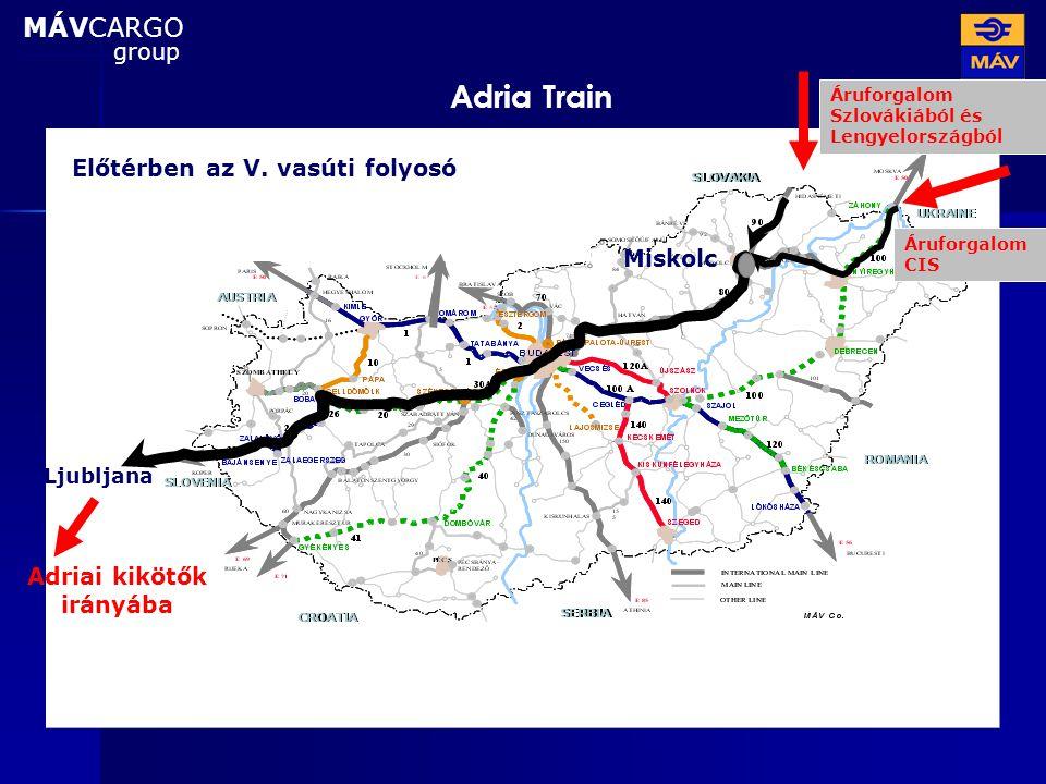 Ljubljana Adria Train Miskolc Áruforgalom Szlovákiából és Lengyelországból Áruforgalom CIS Előtérben az V. vasúti folyosó Adriai kikötők irányába MÁVC