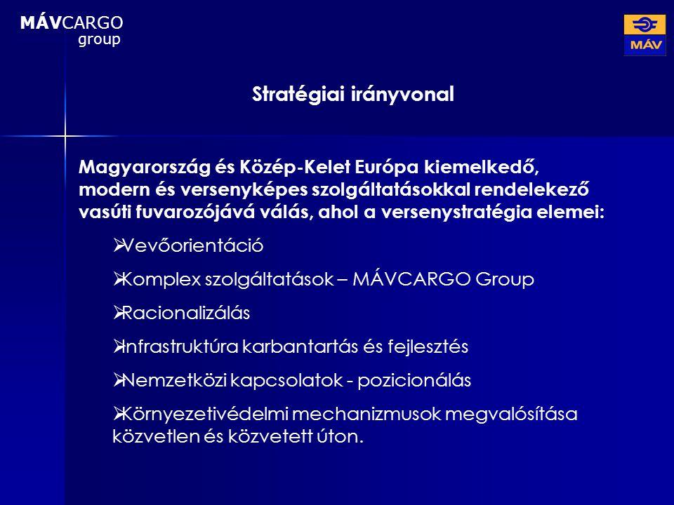 Stratégiai irányvonal Magyarország és Közép-Kelet Európa kiemelkedő, modern és versenyképes szolgáltatásokkal rendelekező vasúti fuvarozójává válás, a