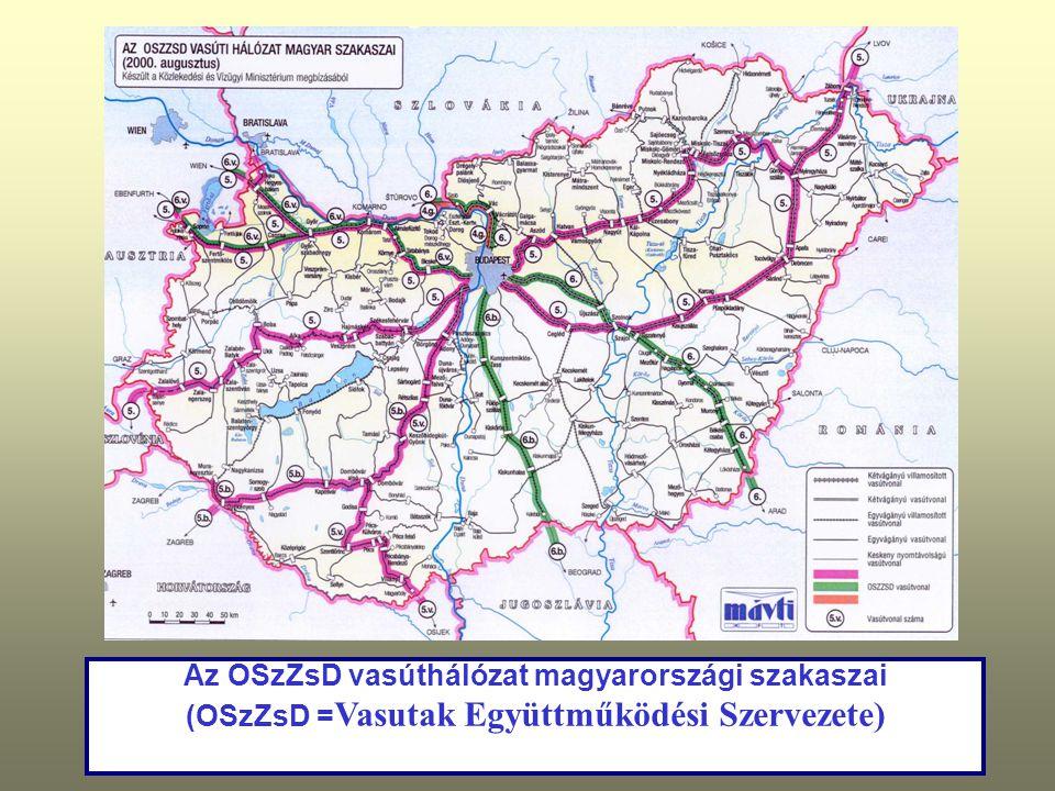 Az OSzZsD vasúthálózat magyarországi szakaszai (OSzZsD = Vasutak Együttműködési Szervezete)