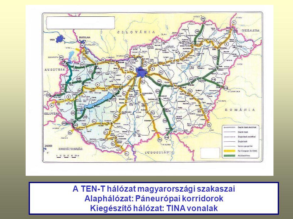 A TEN-T hálózat magyarországi szakaszai Alaphálózat: Páneurópai korridorok Kiegészítő hálózat: TINA vonalak