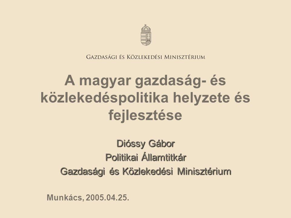 A magyar gazdaság- és közlekedéspolitika helyzete és fejlesztése Dióssy Gábor Politikai Államtitkár Gazdasági és Közlekedési Minisztérium Munkács, 200