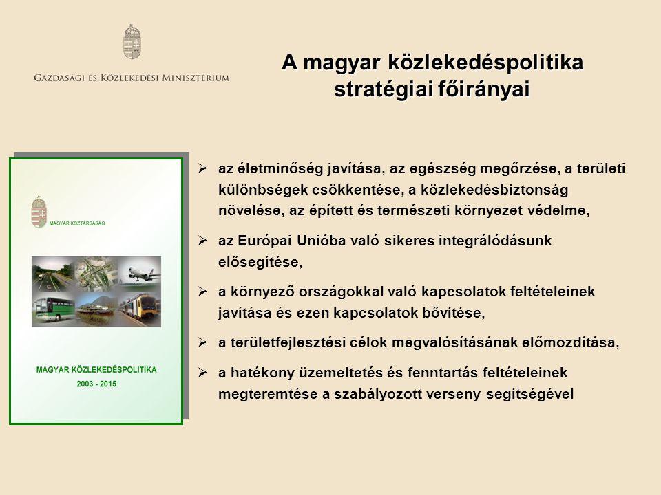  az életminőség javítása, az egészség megőrzése, a területi különbségek csökkentése, a közlekedésbiztonság növelése, az épített és természeti környez