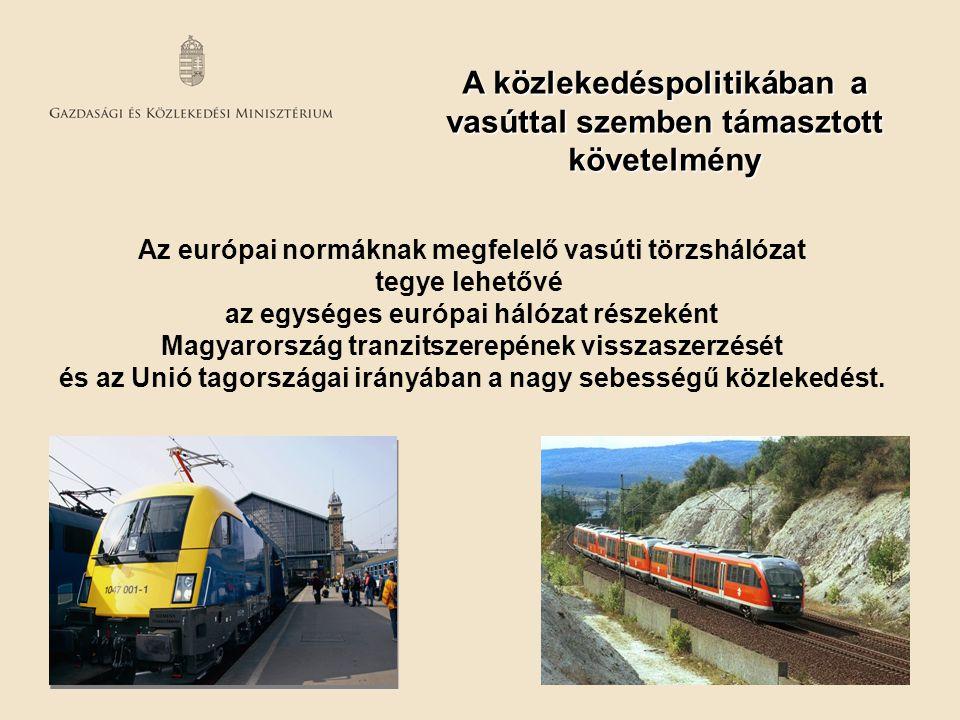 A közlekedéspolitikában a vasúttal szemben támasztott követelmény Az európai normáknak megfelelő vasúti törzshálózat tegye lehetővé az egységes európa