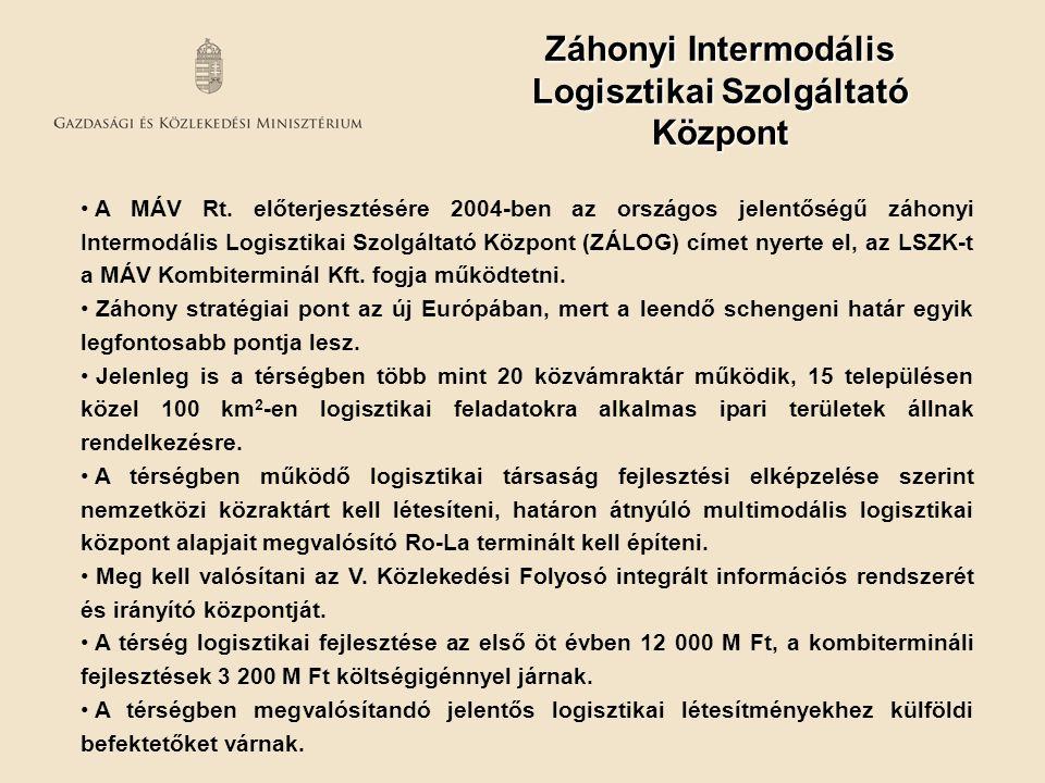 A MÁV Rt. előterjesztésére 2004-ben az országos jelentőségű záhonyi Intermodális Logisztikai Szolgáltató Központ (ZÁLOG) címet nyerte el, az LSZK-t a