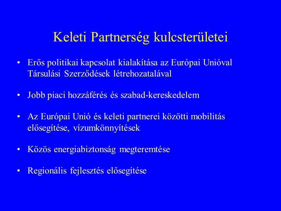 Keleti Partnerség kulcsterületei Erős politikai kapcsolat kialakítása az Európai Unióval Társulási Szerződések létrehozatalával Jobb piaci hozzáférés