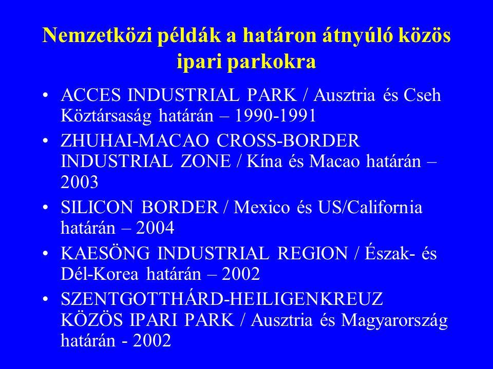 Nemzetközi példák a határon átnyúló közös ipari parkokra ACCES INDUSTRIAL PARK / Ausztria és Cseh Köztársaság határán – 1990-1991 ZHUHAI-MACAO CROSS-BORDER INDUSTRIAL ZONE / Kína és Macao határán – 2003 SILICON BORDER / Mexico és US/California határán – 2004 KAESÖNG INDUSTRIAL REGION / Észak- és Dél-Korea határán – 2002 SZENTGOTTHÁRD-HEILIGENKREUZ KÖZÖS IPARI PARK / Ausztria és Magyarország határán - 2002