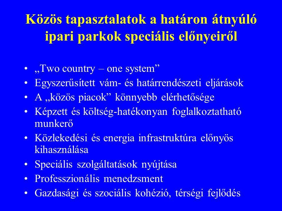 """Közös tapasztalatok a határon átnyúló ipari parkok speciális előnyeiről """"Two country – one system"""" Egyszerűsített vám- és határrendészeti eljárások A"""