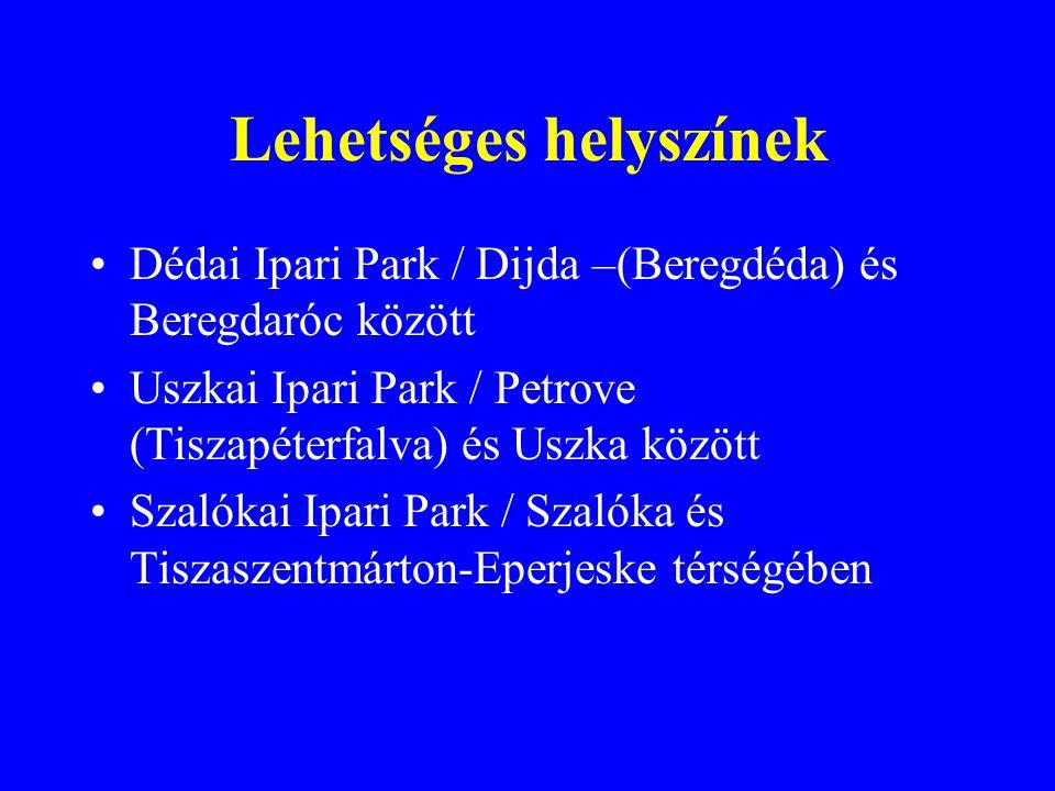 Lehetséges helyszínek Dédai Ipari Park / Dijda –(Beregdéda) és Beregdaróc között Uszkai Ipari Park / Petrove (Tiszapéterfalva) és Uszka között Szalókai Ipari Park / Szalóka és Tiszaszentmárton-Eperjeske térségében