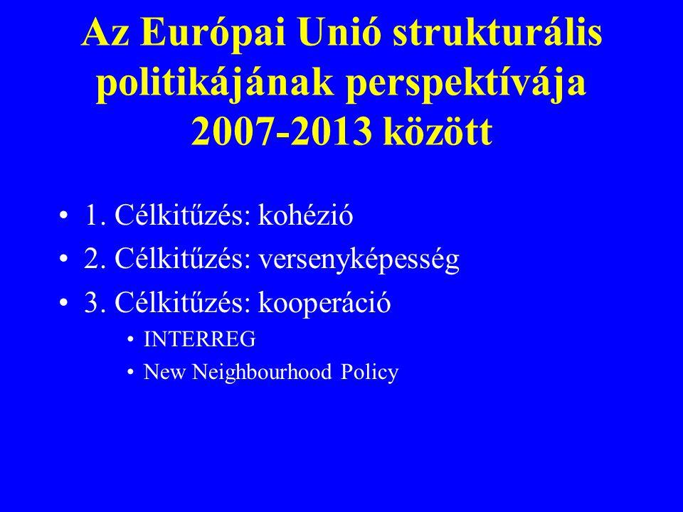 1. Célkitűzés: kohézió 2. Célkitűzés: versenyképesség 3. Célkitűzés: kooperáció INTERREG New Neighbourhood Policy Az Európai Unió strukturális politik