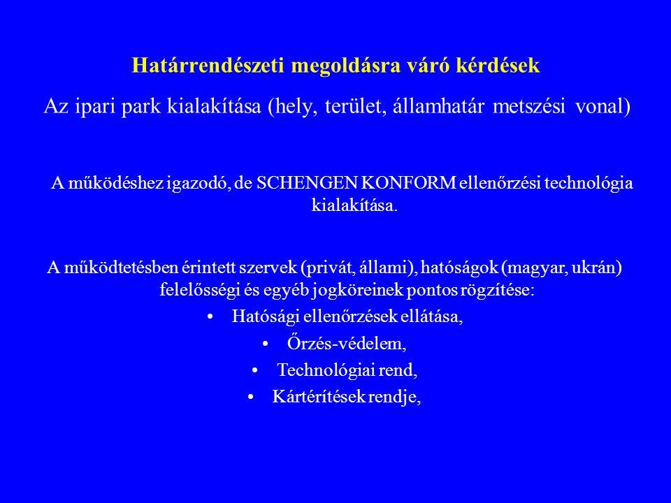 Határrendészeti megoldásra váró kérdések Az ipari park kialakítása (hely, terület, államhatár metszési vonal) A működéshez igazodó, de SCHENGEN KONFORM ellenőrzési technológia kialakítása.