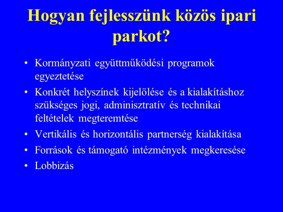 Hogyan fejlesszünk közös ipari parkot? Kormányzati együttműködési programok egyeztetése Konkrét helyszínek kijelölése és a kialakításhoz szükséges jog