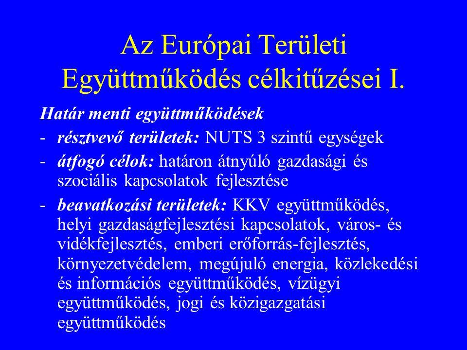 Az Európai Területi Együttműködés célkitűzései I. Határ menti együttműködések -résztvevő területek: NUTS 3 szintű egységek -átfogó célok: határon átny