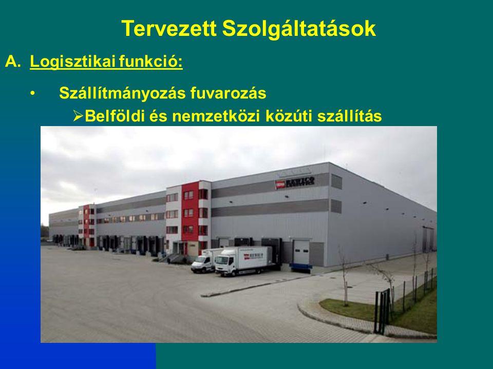 Tervezett Szolgáltatások A.Logisztikai funkció: Szállítmányozás fuvarozás  Belföldi és nemzetközi közúti szállítás