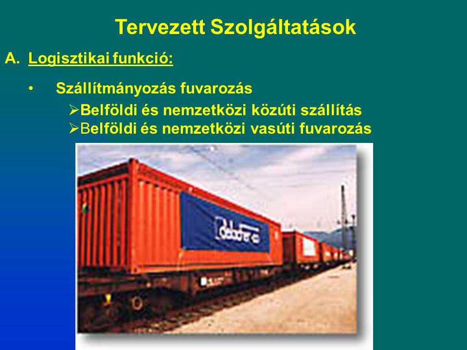 Tervezett Szolgáltatások A.Logisztikai funkció: Szállítmányozás fuvarozás  Belföldi és nemzetközi közúti szállítás  Belföldi és nemzetközi vasúti fu