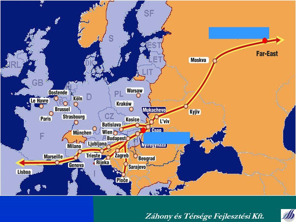 A projekt indokoltsága Az orosz, ukrán, FÁK országok vállalatai felismerték, hogy szükségük van egy logisztikai és raktárbázisra Európában Az Európában tevékenykedő multinacionális vállaltatok keresik a kelet felé irányuló értékesítésük stratégiai elosztóbázisát A helyi infrastrukturális adottságok hasznosítása Ideális Logisztikai hely Munkaerő, szellemi tőke rendelkezésre áll Bő infrastruktúra Élhető környezet Záhony és Térsége Fejlesztési Kft.
