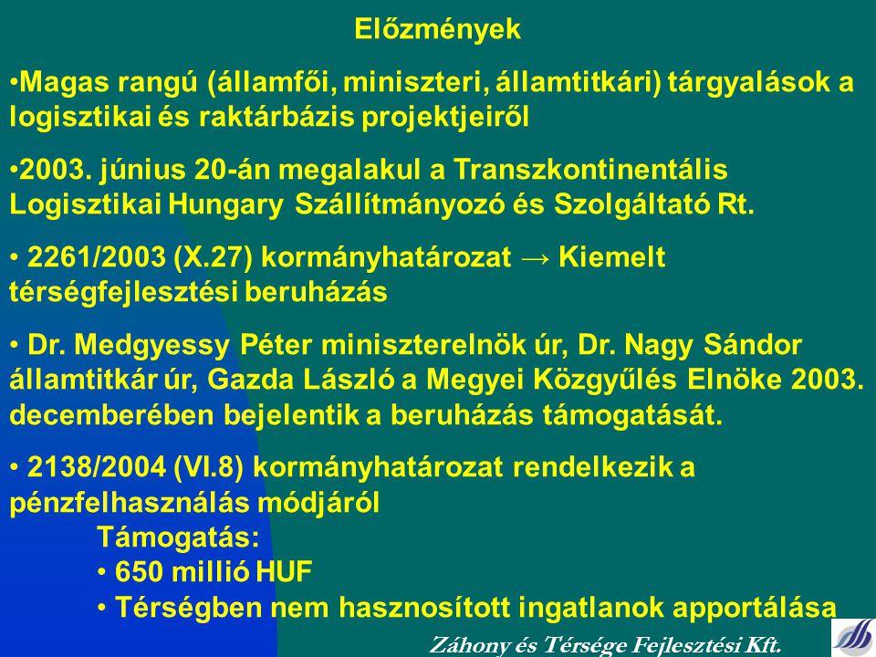 Előzmények Magas rangú (államfői, miniszteri, államtitkári) tárgyalások a logisztikai és raktárbázis projektjeiről 2003. június 20-án megalakul a Tran