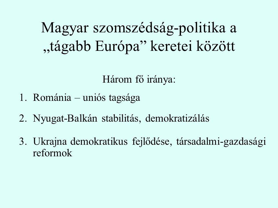 """Magyar szomszédság-politika a """"tágabb Európa keretei között Három fő iránya: 1.Románia – uniós tagsága 2.Nyugat-Balkán stabilitás, demokratizálás 3.Ukrajna demokratikus fejlődése, társadalmi-gazdasági reformok"""