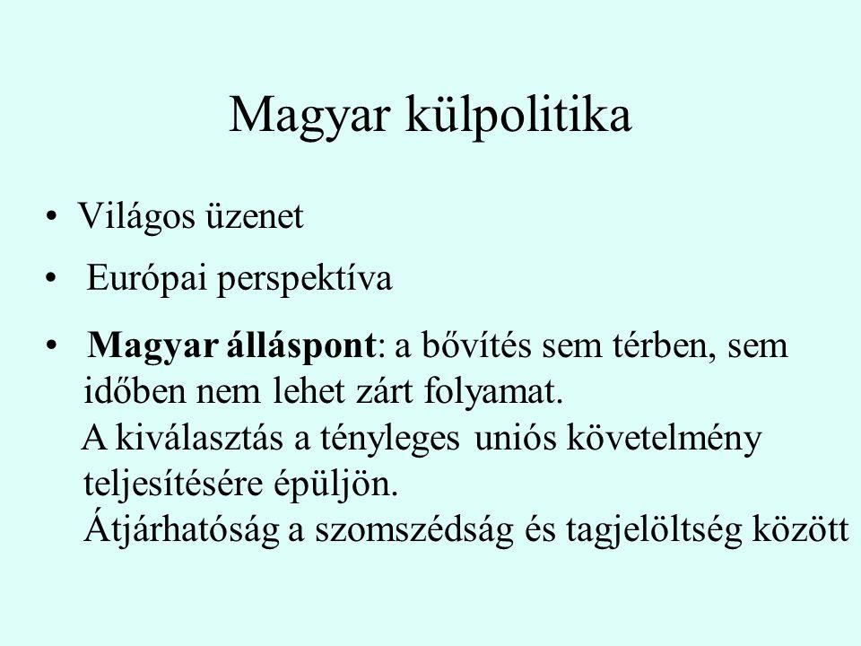 Magyar külpolitika Világos üzenet Magyar álláspont: a bővítés sem térben, sem időben nem lehet zárt folyamat.