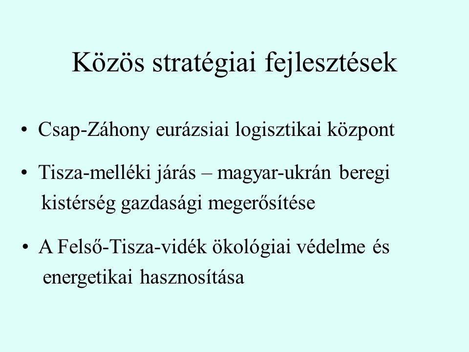 Közös stratégiai fejlesztések Csap-Záhony eurázsiai logisztikai központ A Felső-Tisza-vidék ökológiai védelme és energetikai hasznosítása Tisza-melléki járás – magyar-ukrán beregi kistérség gazdasági megerősítése