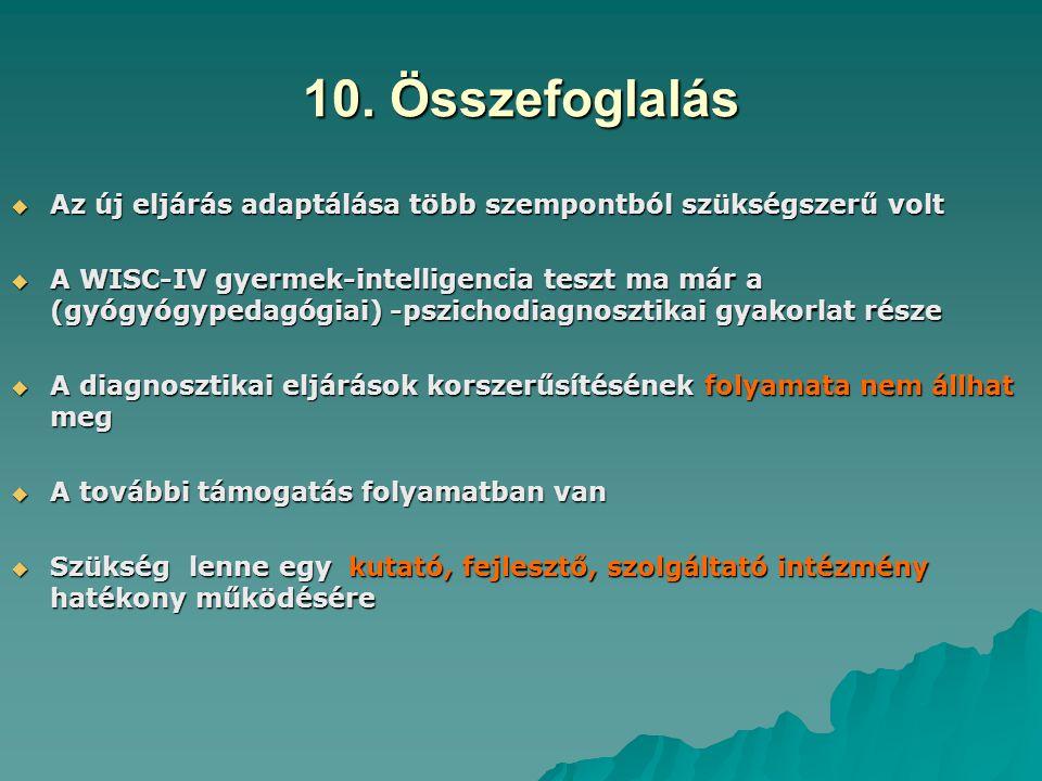 10. Összefoglalás  Az új eljárás adaptálása több szempontból szükségszerű volt  A WISC-IV gyermek-intelligencia teszt ma már a (gyógyógypedagógiai)