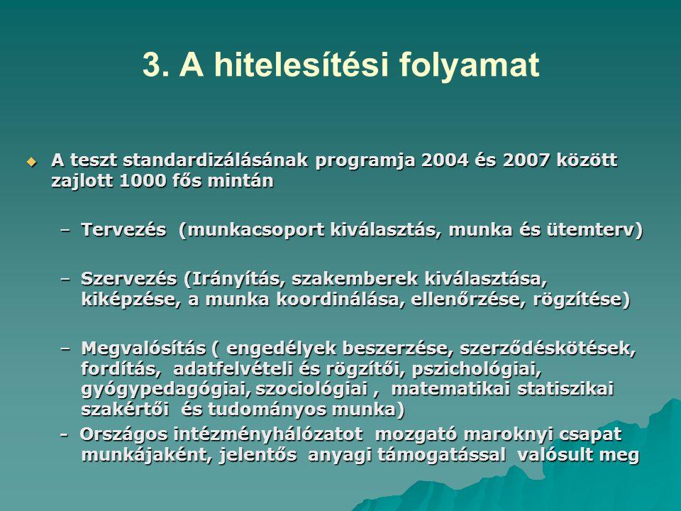 3. A hitelesítési folyamat  A teszt standardizálásának programja 2004 és 2007 között zajlott 1000 fős mintán –Tervezés (munkacsoport kiválasztás, mun