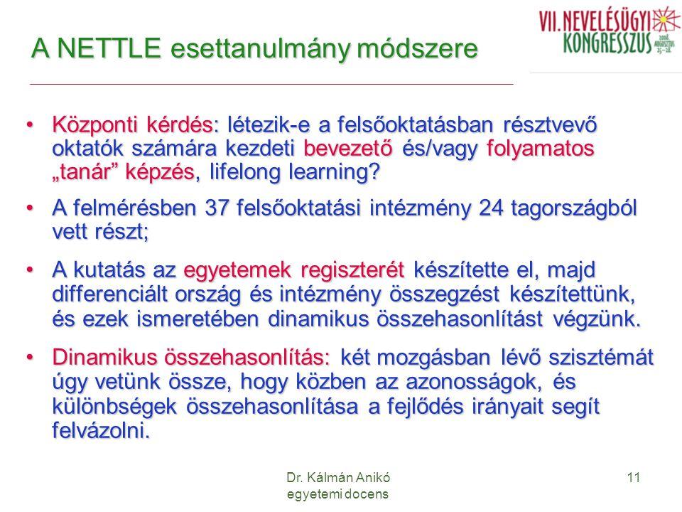 Dr. Kálmán Anikó egyetemi docens 11 A NETTLE esettanulmány módszere Központi kérdés: létezik-e a felsőoktatásban résztvevő oktatók számára kezdeti bev