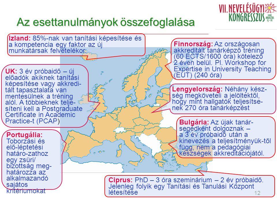Dr. Kálmán Anikó egyetemi docens 12 Az esettanulmányok összefoglalása Bulgária: Az újak tanár- segédként dolgoznak – a 3 év próbaidő után a kinevezés