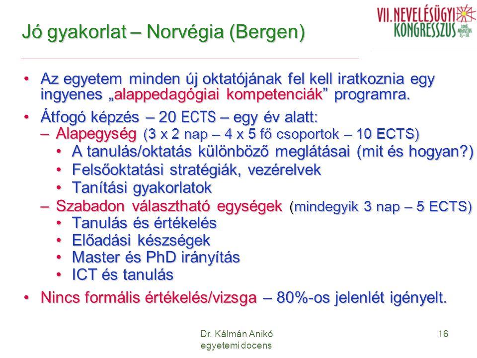 """Dr. Kálmán Anikó egyetemi docens 16 Jó gyakorlat – Norvégia (Bergen) Az egyetem minden új oktatójának fel kell iratkoznia egy ingyenes """"alappedagógiai"""