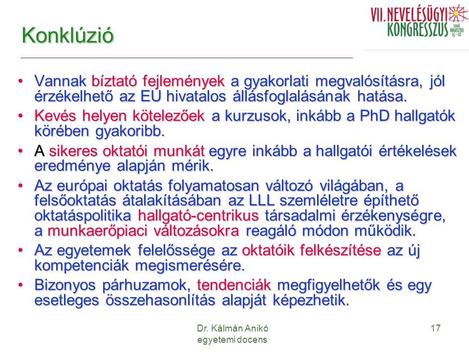 Dr. Kálmán Anikó egyetemi docens 17 Konklúzió Vannak bíztató fejlemények a gyakorlati megvalósításra, jól érzékelhető az EU hivatalos állásfoglalásána