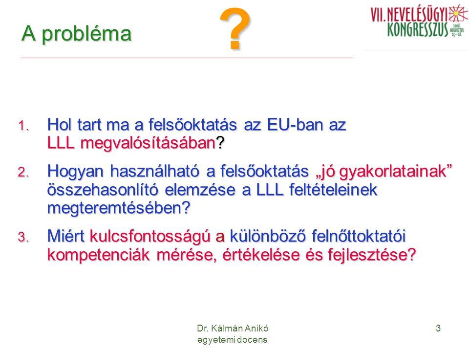 """Dr. Kálmán Anikó egyetemi docens 3 A probléma 1. Hol tart ma a felsőoktatás az EU-ban az LLL megvalósításában? 2. Hogyan használható a felsőoktatás """"j"""