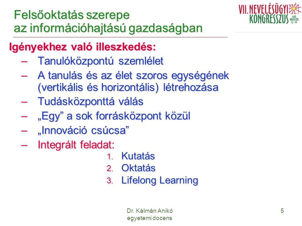 Dr. Kálmán Anikó egyetemi docens 5 Felsőoktatás szerepe az információhajtású gazdaságban Igényekhez való illeszkedés: –Tanulóközpontú szemlélet –A tan