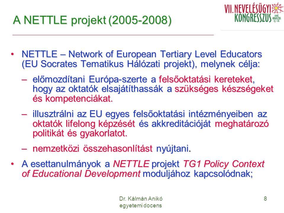 Dr. Kálmán Anikó egyetemi docens 8 A NETTLE projekt (2005-2008) NETTLE – Network of European Tertiary Level Educators (EU Socrates Tematikus Hálózati