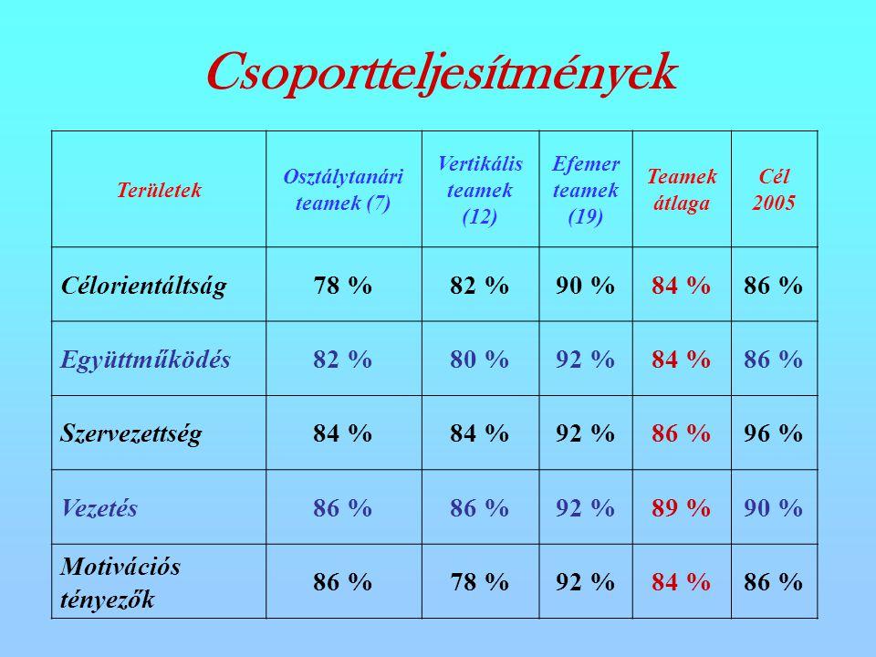 Csoportteljesítmények Területek Osztálytanári teamek (7) Vertikális teamek (12) Efemer teamek (19) Teamek átlaga Cél 2005 Célorientáltság78 %82 %90 %84 %86 % Együttműködés82 %80 %92 %84 %86 % Szervezettség84 % 92 %86 %96 % Vezetés86 % 92 %89 %90 % Motivációs tényezők 86 %78 %92 %84 %86 %