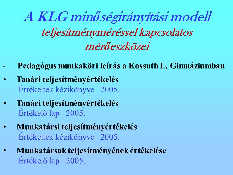 A KLG min ő ségirányítási modell teljesítményméréssel kapcsolatos mér ő eszközei Pedagógus munkaköri leírás a Kossuth L.