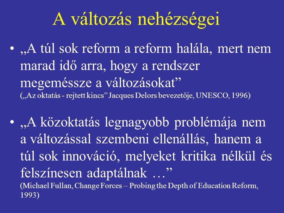 """A változás nehézségei """"A túl sok reform a reform halála, mert nem marad idő arra, hogy a rendszer megeméssze a változásokat"""" (""""Az oktatás - rejtett ki"""