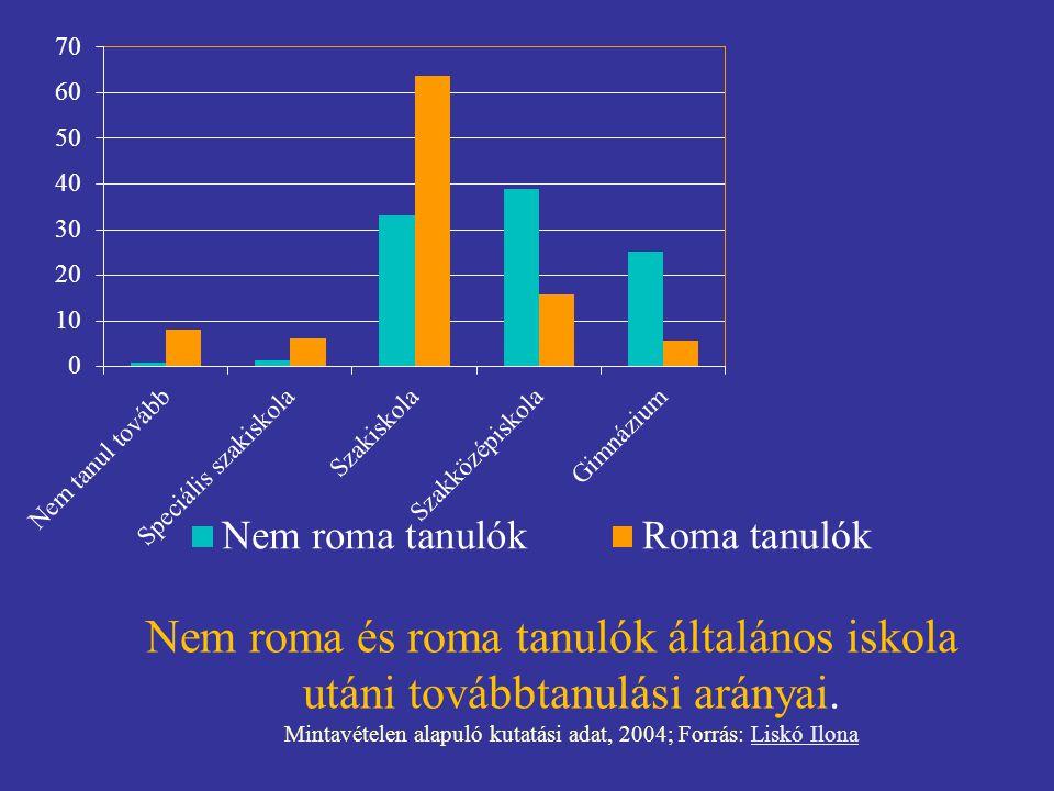 Nem roma és roma tanulók általános iskola utáni továbbtanulási arányai. Mintavételen alapuló kutatási adat, 2004; Forrás: Liskó IlonaLiskó Ilona