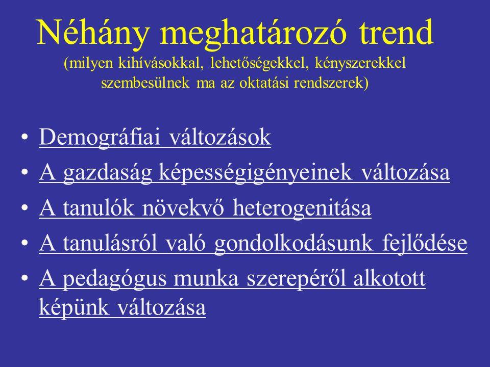 Néhány meghatározó trend (milyen kihívásokkal, lehetőségekkel, kényszerekkel szembesülnek ma az oktatási rendszerek) Demográfiai változások A gazdaság