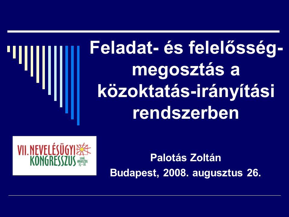 Feladat- és felelősség- megosztás a közoktatás-irányítási rendszerben Palotás Zoltán Budapest, 2008.