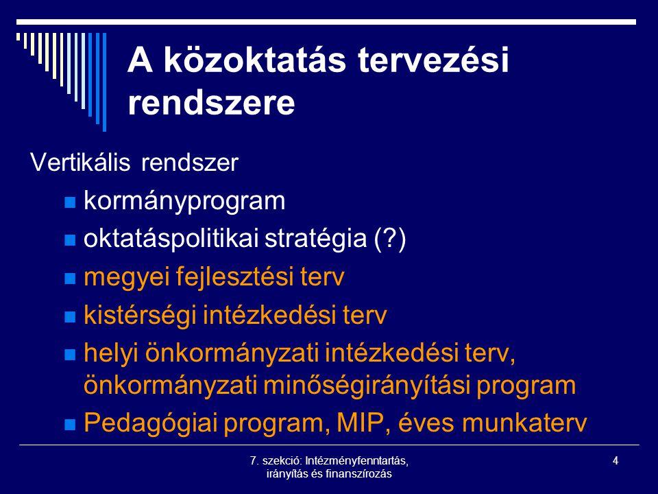 7. szekció: Intézményfenntartás, irányítás és finanszírozás 4 A közoktatás tervezési rendszere Vertikális rendszer kormányprogram oktatáspolitikai str