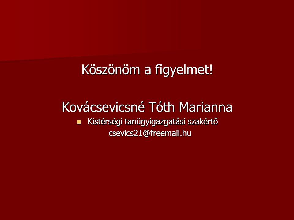 Köszönöm a figyelmet! Kovácsevicsné Tóth Marianna Kistérségi tanügyigazgatási szakértő Kistérségi tanügyigazgatási szakértő csevics21@freemail.hu csev