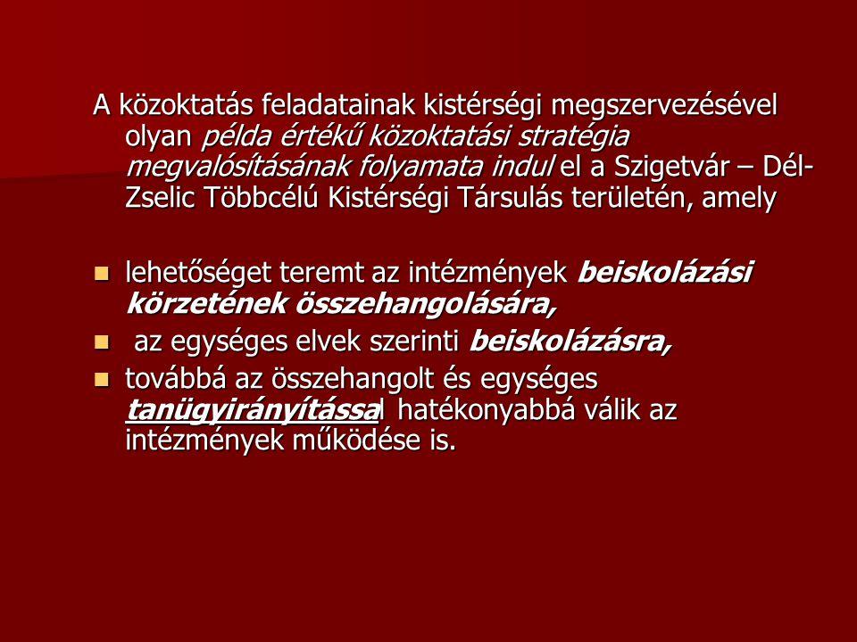 A közoktatás feladatainak kistérségi megszervezésével olyan példa értékű közoktatási stratégia megvalósításának folyamata indul el a Szigetvár – Dél-
