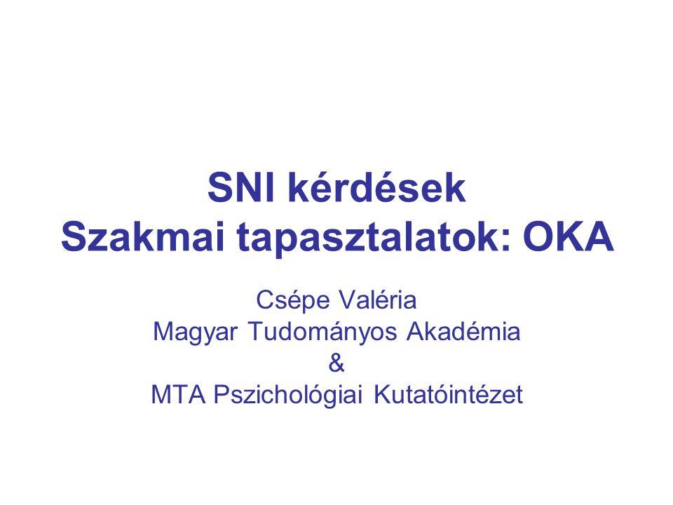 SNI kérdések Szakmai tapasztalatok: OKA Csépe Valéria Magyar Tudományos Akadémia & MTA Pszichológiai Kutatóintézet