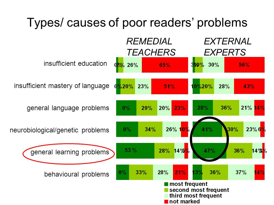 Types/ causes of poor readers' problems REMEDIAL TEACHERS EXTERNAL EXPERTS insufficient education insufficient mastery of language general language problems neurobiological/genetic problems general learning problems behavioural problems 53 %