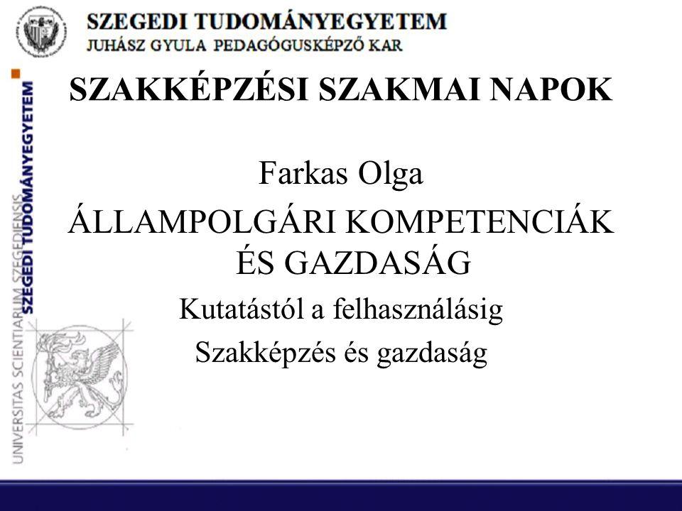 SZAKKÉPZÉSI SZAKMAI NAPOK Farkas Olga ÁLLAMPOLGÁRI KOMPETENCIÁK ÉS GAZDASÁG Kutatástól a felhasználásig Szakképzés és gazdaság